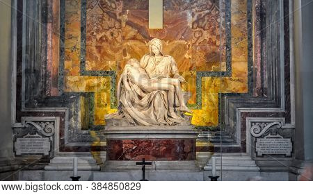 Pieta (mother Mary And Jesus Christ) Sculpture In St. Peter's Basilica By Michelangelo, Vatican - Ma