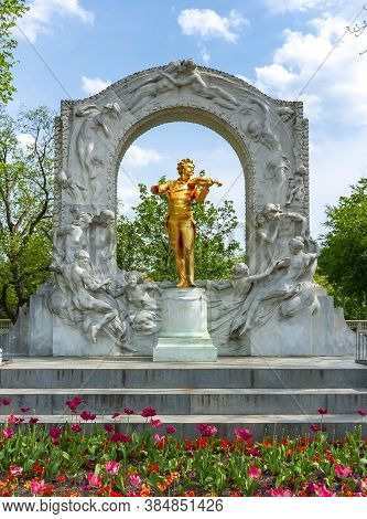 Monument To Famous Composer Johann Strauss In Stadtpark In Spring, Vienna, Austria - May 2019