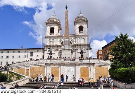 Spanish Steps And Trinita Dei Monti Church, Rome, Italy - May 2019