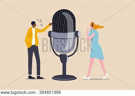 Podcast In Episodic Series Of Digital Audio Records Broadcast Or Streaming Via Internet For Easy Lis