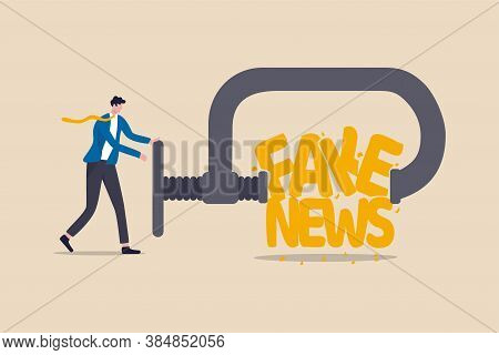 Stop Fake News And Misinformation Spreading On Internet And Media Concept, Businessman Leader Squeez