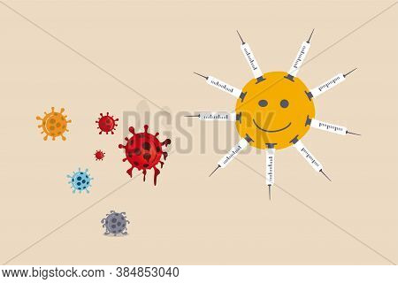Coronavirus Vaccine To Cure Covid-19 Illness Concept, Smile Face With Successfully Discovered Covid-