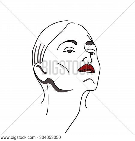 Vector Fashion Illustration.contour Drawing Of A Woman. Fashionable And Sophisticated Image For Desi