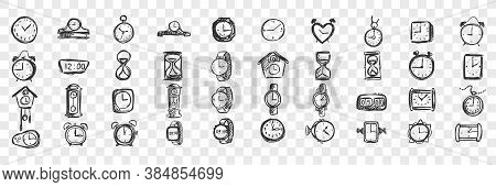 Watches Doodle Set. Collection Of Hand Drawn Templates Sketches Patterns Of Male Female Hand Pocket