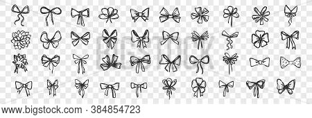 Hand Drawn Bows Doodle Set. Collection Of Pen Pencil Drawing Sketches Of Decorative Birthday Holiday