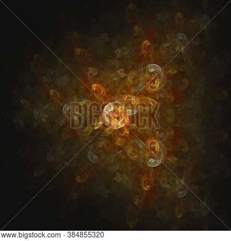 Abstract Multi-colored Computer Generated Fractal Background. Orange And Yellow Colors