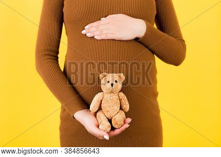Cropped Image Of Happy Pregnant Woman In Brown Dress Holding Teddy Bear Against Her Belly At Yellow
