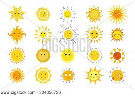 Hand Drawn Sun Emotions Doodle Set. Collection Of Colorful Cartoon Drawings Cute Smiling Sunny Faces