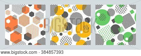 Three Geometric Seamless Patterns With Circles,squares, Hexagons Stripes And Dots. Patterns For Fash
