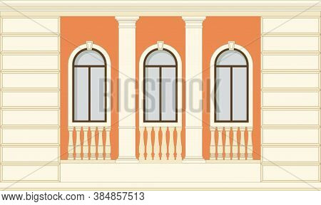 Facade Of The Building, One Floor With Windows And Decorative Elements Of A Column, Balustrade. Hous