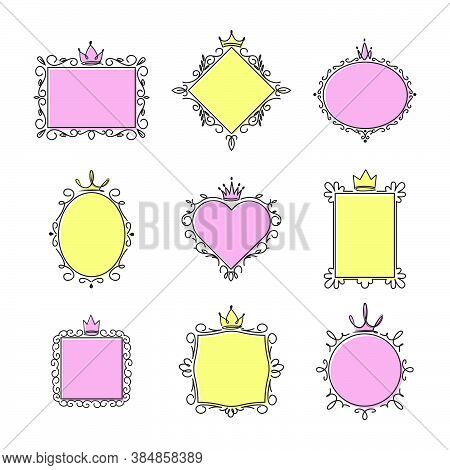 Princess Mirror Frames Set. Pink And Yellow Spaces For Text In Swirly Frames With Crowns. Vector Ill