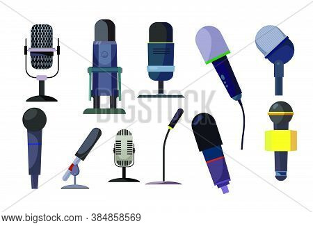 Professional Microphones Set. Collection Of Speakers. Can Be Used For Topics Like Audio Studio, Reco