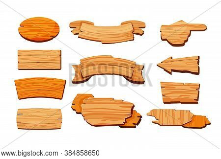 Cartoon Wooden Signboards. Oval Board, Banner With Blank Copy Space, Road Direction Sign. Vector Ill