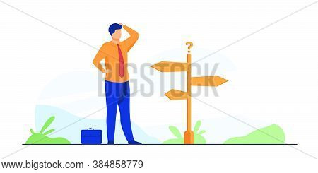 Pensive Businessman Making Decision. Man In Office Suit Standing At Road Direction Signs. Vector Ill