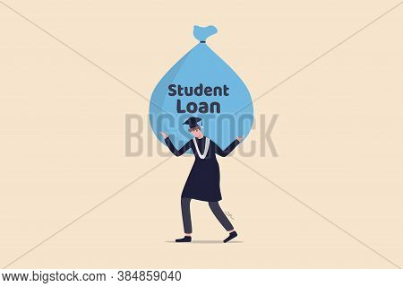 Student Loan, Saving For School, University Or College Study Cost Concept, Graduated Student Wearing