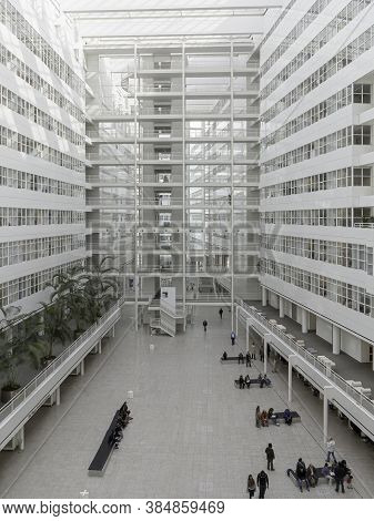 The Hague, 2 October 2013 - Aerial View Of Inside The Hague City Hall White Glass Building, Netherla