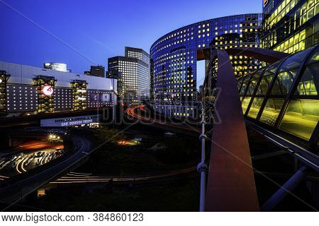 Paris, 26 October 2015 - Night View Of The Paris La Défense Business District And Headquarters Of
