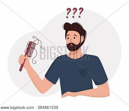 Flat Vector Illustration Of A Male Person With A Comb In Hand. Alopecia, Hair Loss In Young Age, Hai