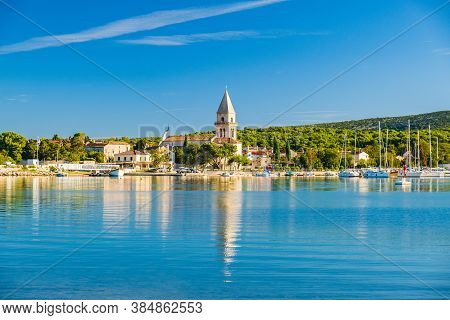 Beautiful Old Town Of Osor Between Islands Cres And Losinj, Croatia, Seascape In Foreground