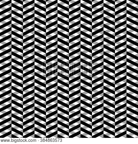 Herringbone Motif. Zigzag Lines. Jagged Stripes. Seamless Surface Pattern Design With Triangular Wav