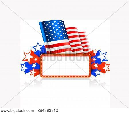 Marquee Board Announcement In The Colors Of The National Us Flag. Vector Illustration