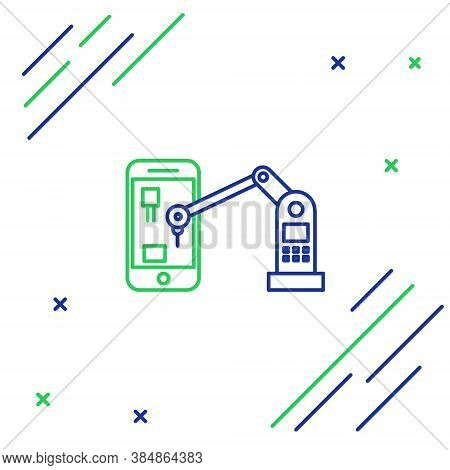 Line Industrial Machine Robotic Robot Arm Hand On Mobile Phone Factory Icon Isolated On White Backgr