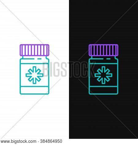 Line Dog Medicine Bottle And Pills Icon Isolated On White And Black Background. Container With Pills