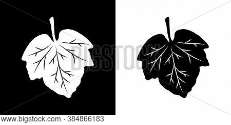Leaf With Streaks Icons Set. Isolated Black And White Sign. Vector Illustration. Great For Use As An