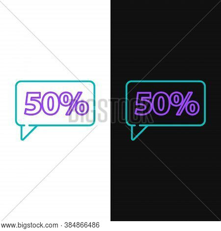 Line Fifty Discount Percent Tag Icon Isolated On White And Black Background. Shopping Tag Sign. Spec