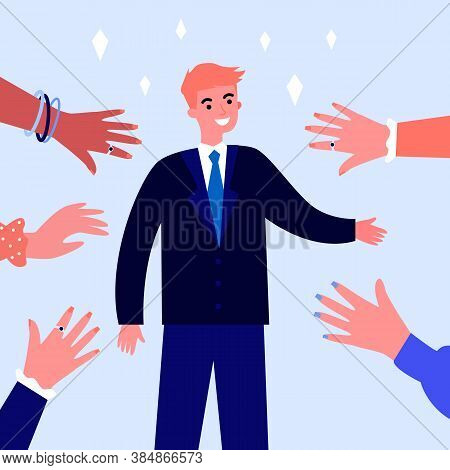 Smiling Celebrity Greeting People And Waving Hands. Star, Fan, Famous Person Flat Vector Illustratio