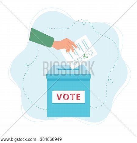 Vote Ballot Box. A Hand Putting A Vote Into The Box. Election Concept.