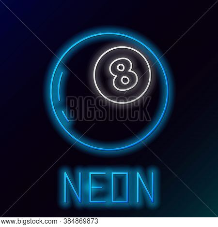 Glowing Neon Line Magic Ball Of Predictions For Decision-making Icon Isolated On Black Background. C