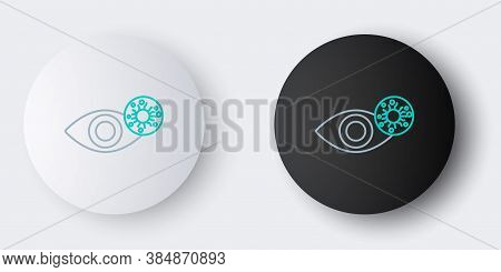 Line Reddish Eye Due To Virus, Bacterial Or Allergic Conjunctivitis Icon Isolated On Grey Background