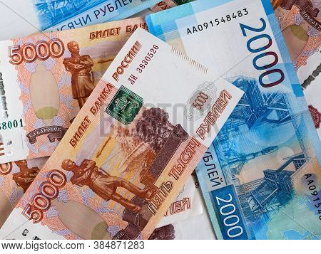Russian Money, Background. Russian Currency. Financial Crisis, Ruble Devaluation Concept.