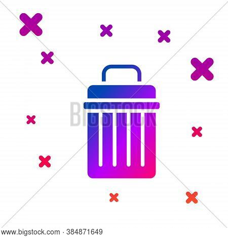 Color Trash Can Icon Isolated On White Background. Garbage Bin Sign. Recycle Basket Icon. Office Tra