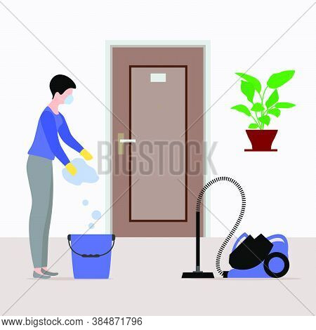 Vector Illustration Cleaning Service Disinfects Hotel Room From Coronavirus, Germs. Woman Cleans Roo