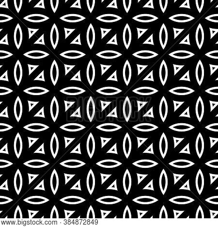 White Hollow Figures Tessellation On Black Background. Image With Ovals And Triangular Blocks. Ethni