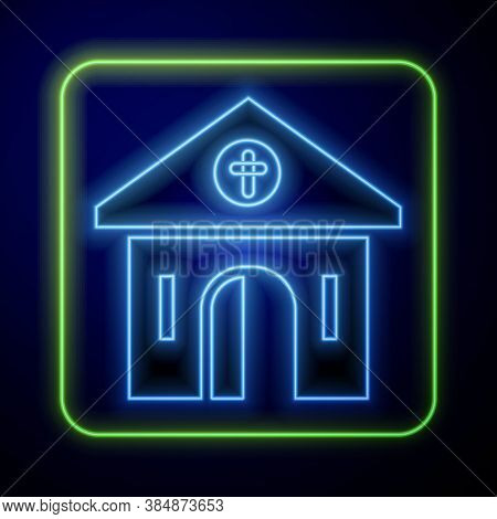 Glowing Neon Church Building Icon Isolated On Blue Background. Christian Church. Religion Of Church.