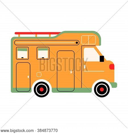 Colorful Rv Camper. The Way Home Trailer. Recreational Car. Holiday Trip Concept. Mobile Home For Ou