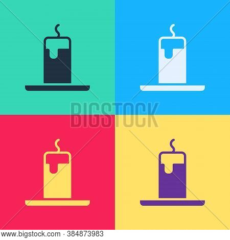 Pop Art Burning Candle Icon Isolated On Color Background. Cylindrical Candle Stick With Burning Flam