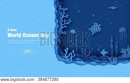 Web Page Design Template In Paper Cut Style Underwater Ocean Underwater View. Aquarium With Wild Lif
