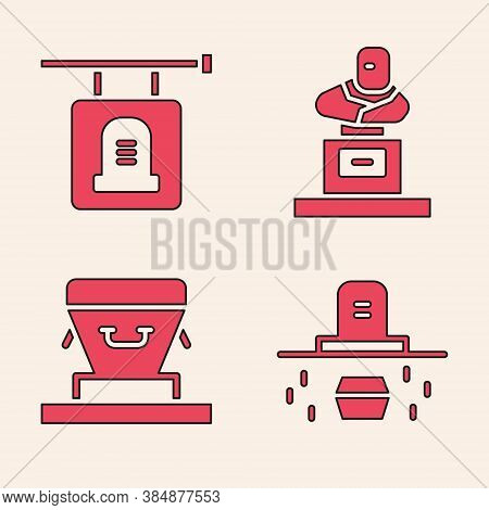 Set Grave With Coffin, Signboard Tombstone, Grave With Tombstone And Coffin Icon. Vector