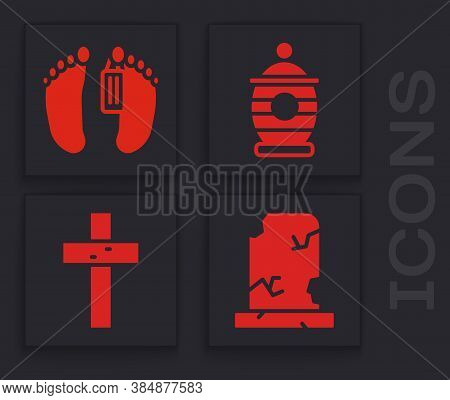 Set Old Grave With Tombstone, Dead Body, Funeral Urn And Christian Cross Icon. Vector