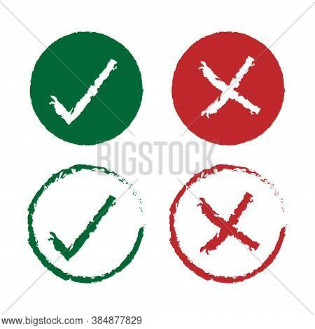 Check Mark Vector Icon Set. Paintbrush Drawing And Ink Style Texture. Right And Wrong Checkmark Symb