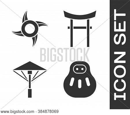 Set Maneki Neko Cat, Japanese Ninja Shuriken, Japanese Umbrella From The Sun And Japan Gate Icon. Ve