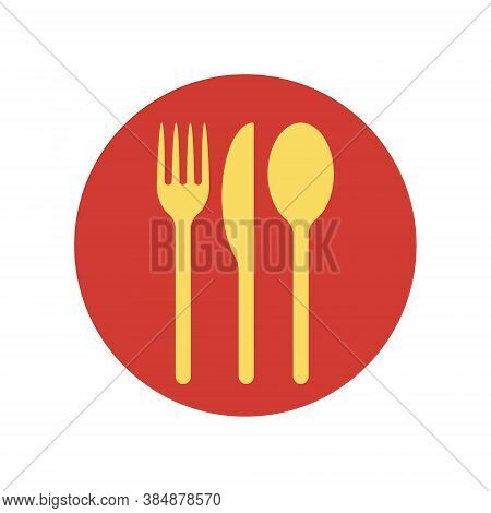 Fork Knife And Spoon Icon Logo. Simple Flat Shape Restaurant Or Cafe Place Sign. Kitchen And Diner M