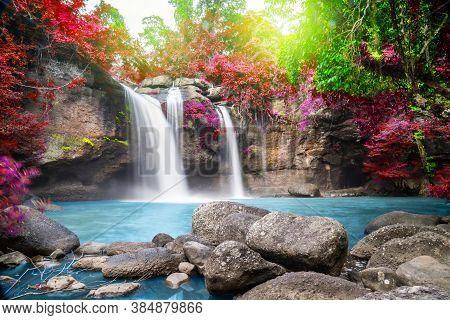 Travel To The Beautiful Colorful Majestic Waterfall In National Park Forest During Autumn, Soft Wate