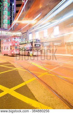 Central District, Hong Kong Island, Hong Kong, China, Asia - December 06, 2008: Tram And Bus At Cent
