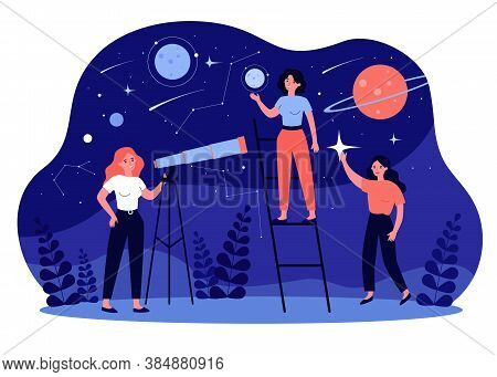 People Studying Astronomy And Astrology, Using Telescope For Galaxy And Planets Research. Vector Ill