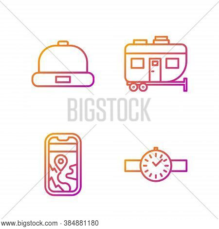 Set Line Wrist Watch, City Map Navigation, Beanie Hat And Rv Camping Trailer. Gradient Color Icons.